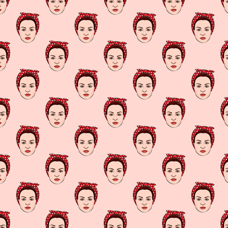 (small scale) Rosie the Riveter (pink) fabric by littlearrowdesign on Spoonflower - custom fabric