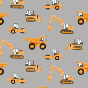 construction trucks - orange on grey