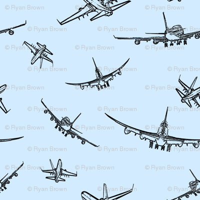 Plane Sketches on Light Blue // Large
