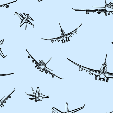 Plane Sketches on Light Blue // Large fabric by thinlinetextiles on Spoonflower - custom fabric