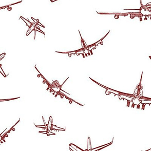 Burgundy Plane Sketches // Large