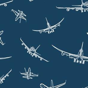 Plane Sketch on Navy Blue // Large