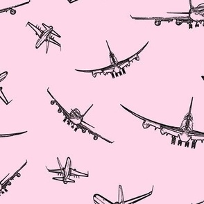 Plane Sketches on Light Pink // Large