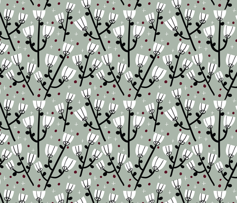Winter FLowers fabric by obi&minnie on Spoonflower - custom fabric