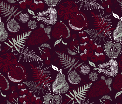 Festive Fruits and Ferns fabric by j9design on Spoonflower - custom fabric