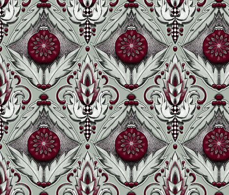 elegant holiday damask fabric by beesocks on Spoonflower - custom fabric