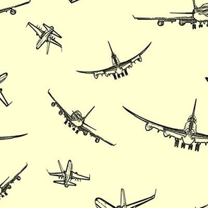 Plane Sketches on Yellow // Large
