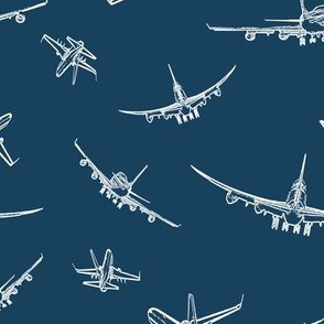 Plane Sketches on Navy Blue // Large