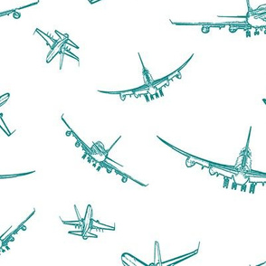 Teal Plane Sketches // Large