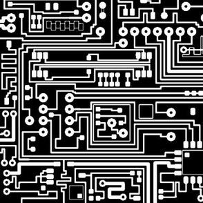 Circuit Board // White on Black // Large