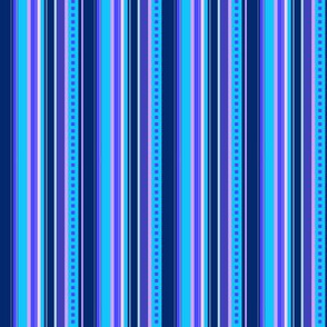 BN10 - Narrow Variegated Stripes in Blues - Pink - Lavender