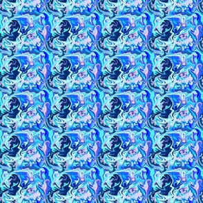 BN10  -  Abstract Marbled Mystery in Blues  - Pink - Lavender - Tiny