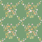 Meadowsweet Diamond Pastels, Boho Green
