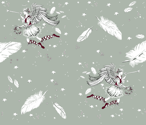 elegant xmas angels and feathers repeat1 fabric by wetpaint1 on Spoonflower - custom fabric