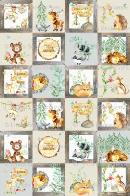 Woodland Adventure Patchwork Quilt - Moose Fox Deer Bear Hedgehog Squirrel Raccoon - Grey + Cream Blanket Design