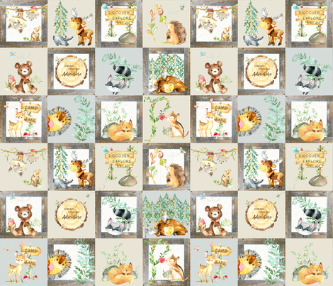 Woodland Adventure Patchwork Quilt - Moose Fox Deer Bear Hedgehog Squirrel Raccoon - Grey + Cream Blanket Design fabric by gingerlous on Spoonflower - custom fabric