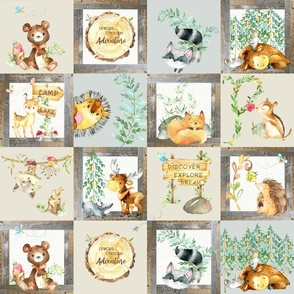 Woodland Adventure Patchwork Quilt - Moose Fox Deer Bear Hedgehog Squirrel Raccoon - Grey + Cream Blanket Design