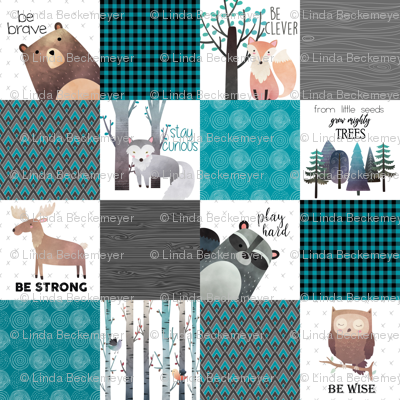 Woodland Critters Patchwork Quilt - Bear Moose Fox Raccoon Wolf, Teal, Black & Gray Design GingerLous
