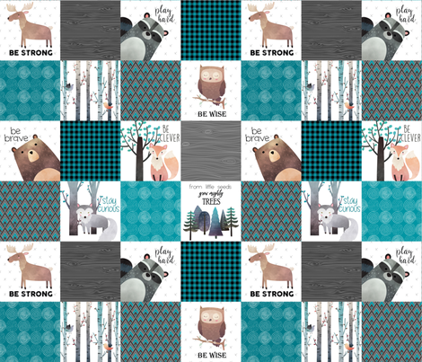 Woodland Critters Patchwork Quilt - Bear Moose Fox Raccoon Wolf, Teal, Black & Gray Design GingerLous fabric by gingerlous on Spoonflower - custom fabric