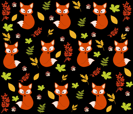 Small foxes. fabric by maria81 on Spoonflower - custom fabric