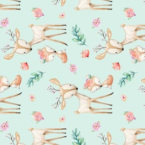 Sweet Deer & Fox (soft mint) ROTATED - Woodland Animals Flowers Baby Girl Nursery Bedding
