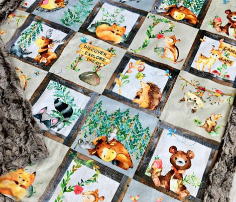 Woodland Adventure Patchwork Quilt (rotated) - Moose Fox Deer Bear Hedgehog Squirrel Raccoon - Grey + Cream Blanket Design