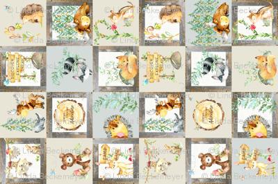 Woodland Adventure Patchwork Quilt (rotated) - Moose Fox Deer Bear Hedgehog Squirrel Raccoon - Grey + Cream Blanket Design