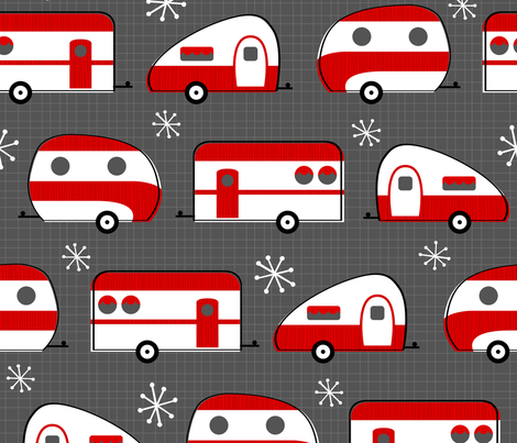 Happy Campers (Red Large) fabric by robyriker on Spoonflower - custom fabric