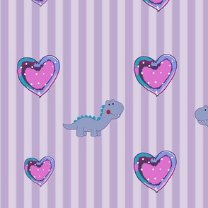 Baby Purple Dinosaur and hearts Collection