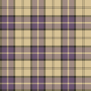 "Dunbar tartan, 6"", custom colorway custard/purple"
