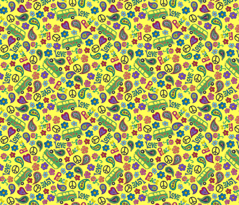 Hippy Back to the 60's fabric by passionflower_art_&_design on Spoonflower - custom fabric