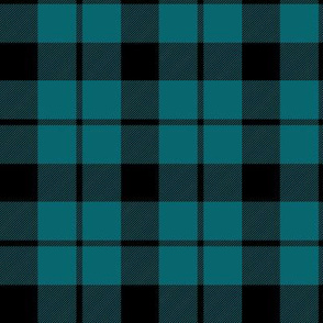 "Brown tartan, custom 3"" teal"