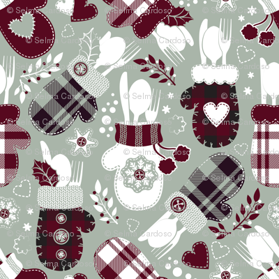 Christmas holiday dinner cozy gloves // limited palette