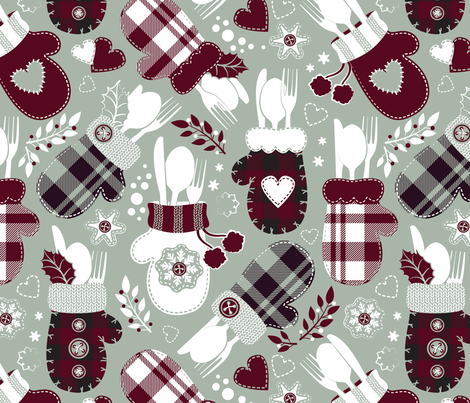 Christmas holiday dinner cozy gloves // limited palette fabric by selmacardoso on Spoonflower - custom fabric