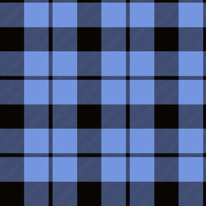 "Brown tartan, custom 3"" light blue"