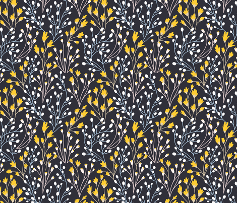 Silvie Floral in Spring Navy fabric by bluedesignhouse on Spoonflower - custom fabric