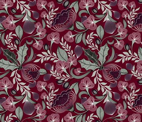 Holiday in Jewel Tones  fabric by vo_aka_virginiao on Spoonflower - custom fabric