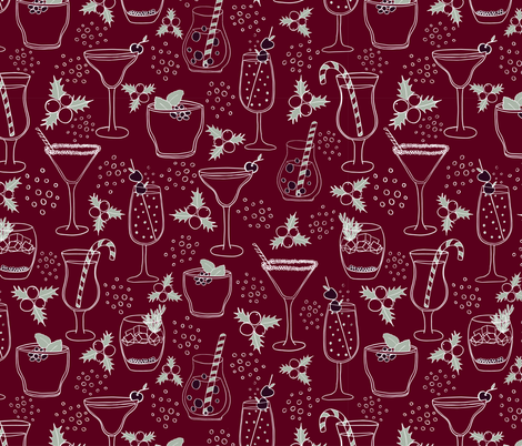 Christmas Cocktails fabric by red_raspberry_designs on Spoonflower - custom fabric