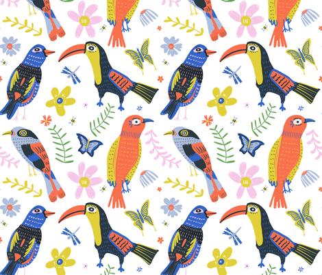Bird conversations fabric by ana_harrill on Spoonflower - custom fabric
