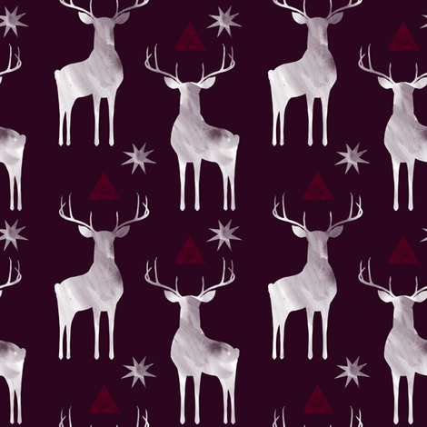Whitetails in Winter fabric by katie_hayes on Spoonflower - custom fabric