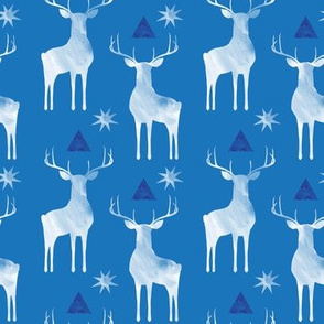 Whitetails in winter, on Blue