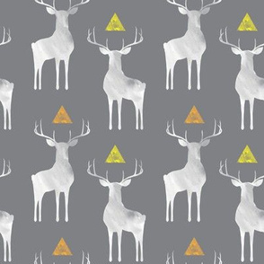 Watercolor Whitetails, on Gray