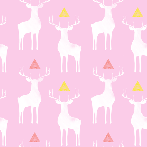 Watercolor Whitetails, on Pink  fabric by katie_hayes on Spoonflower - custom fabric