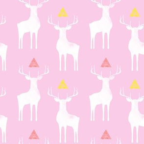 Watercolor Whitetails, on Pink