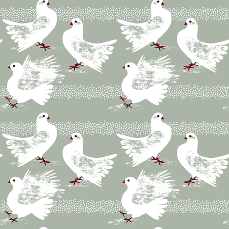 Elegant Pigeons by Mount Vic and Me fabric by mountvicandme on Spoonflower - custom fabric