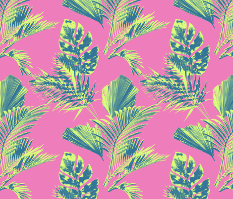 Milagros Palm in Pink fabric by bluedesignhouse on Spoonflower - custom fabric