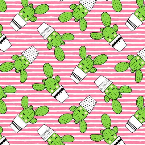 happy cactus - potted succulents - med pink stripes fabric by littlearrowdesign on Spoonflower - custom fabric