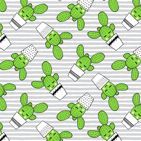 happy cactus - potted succulents - grey stripes fabric by littlearrowdesign on Spoonflower - custom fabric
