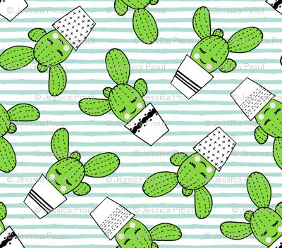 happy cactus - potted succulents - aqua stripes