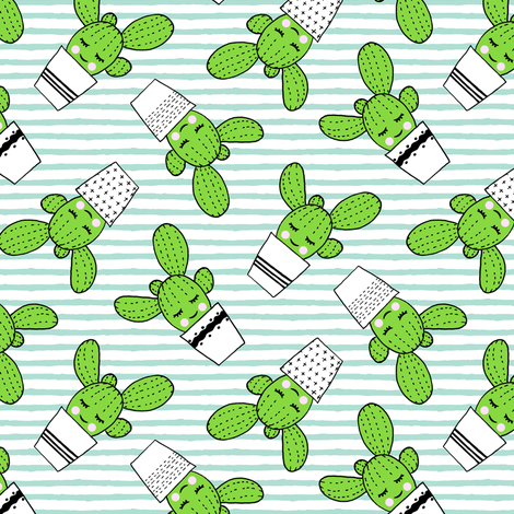 happy cactus - potted succulents - aqua stripes fabric by littlearrowdesign on Spoonflower - custom fabric